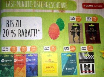 """Rewe: Gutscheine für """"H&M"""", """"Runners Point"""" und andere mit 20 Prozent Rabatt"""