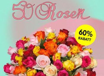 Blumeideal: 50 bunte Rosen für 24,98 Euro inklusive LIeferung