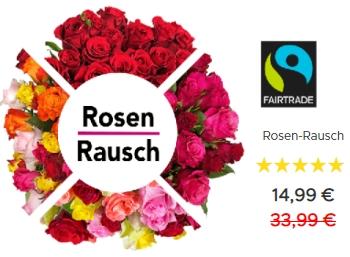 Rosen-Rausch: 27 bis 33 Rosen mit Fairtrade-Siegel für 19,98 Euro frei Haus