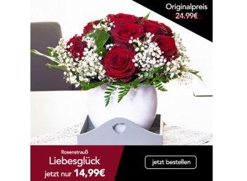 """Blumeideal: Rosenstrauß """"Liebesglück"""" mit 10 Euro Rabatt für 19,94 Euro frei Haus"""