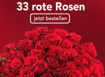 Blume Ideal: 33 rote Rosen für 20,98 Euro inklusive Lieferung
