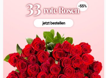 Blumeideal: 33 rote Rosen für unter 20 Euro frei Haus
