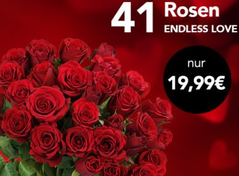 Blumeideal: 41 rote Rosen für 24,94 Euro mit Versand
