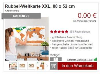 Druckerzubehoer.de: Rubbel-Weltkarte für 0 Euro plus Versand
