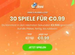 Rubbellos-Aktion: 30 Lose für 99 Cent bei Jinni