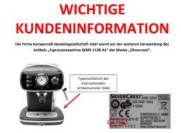 Stromschlaggefahr: Lidl ruft Espressomaschine zurück