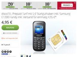 Gratis: Samsung E1200 zur Prepaid-Karte mit 5 Euro Guthaben für 4,95 Euro