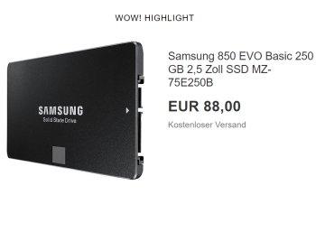 Samsung: SSD Evo 850 mit 250 GByte für 88 Euro frei Haus