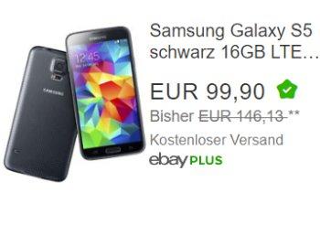 Ebay: Samsung Galaxy S5 als B-Ware für 99,90 Euro frei Haus