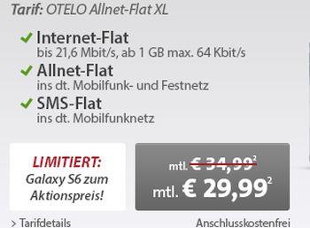 Samsung Galaxy S6 mit Allnet-Flat für 4,95 Euro Aufpreis (