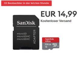 Ebay: Sandisk-Speicherkarte mit 64 GByte für 14,99 Euro frei Haus