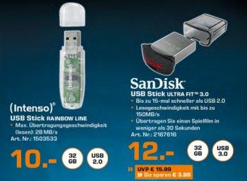 """Saturn: Mini-USB-Stick """"Sandisk Ultra Fit"""" mit 32 GByte für 12 Euro frei Haus"""