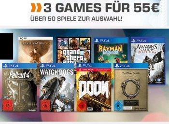 Saturn: 3 Games nach Wahl für 55 Euro bis Montag morgen