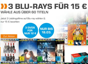 Saturn: Drei Blu-rays für 15 Euro, drei DVDs für 12 Euro