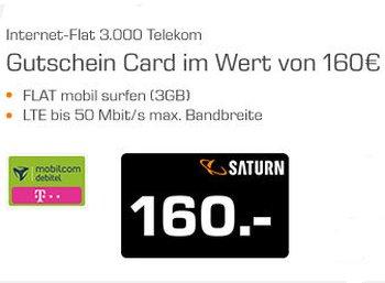 Saturn: LTE-Flat im Telekom-Netz mit drei GByte für 5,40 Euro dank Gutschein