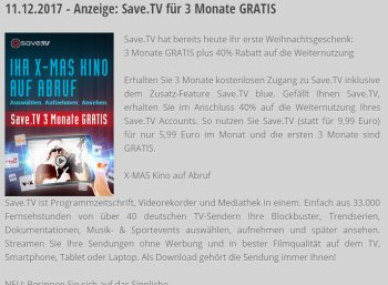 Gratis: 3 Monate Save.tv für 0 Euro via PC-Welt-Adventskalender