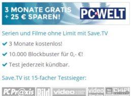 Gratis: Drei  Monate Save.TV zum Nulltarif testen