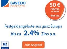 Savedo: Festgeld mit 1,8 Prozent Zins und 50 – 100 Euro Werbeprämie