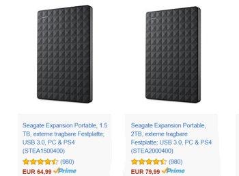 Amazon: Sieben externe Festplatten von Seagate für einen Tag billiger