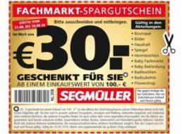 Segmüller: 30 Euro Rabatt ab 100 Euro Warenwert via Coupon
