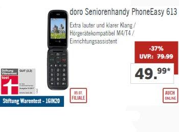 Lidl: Gut bewertetes Seniorenhandy doro PhoneEasy 613 zum Bestpreis von 49,99 Euro