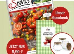 """Gratis: Einkoch-Buch und zwölf Gläser zu """"Servus"""" für 9,90 Euro"""