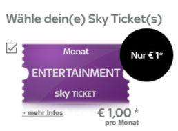 Sky: Entertainment Ticket für einen Euro, monatlich kündbar