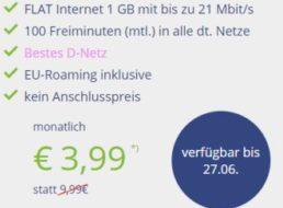 D-Netz: Flat mit 100 Minuten und einem GByte für 3,99 Euro im Monat