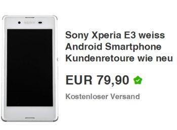 Ebay: Sony Xperia E3 als Kundenretoure für 79,90 Euro