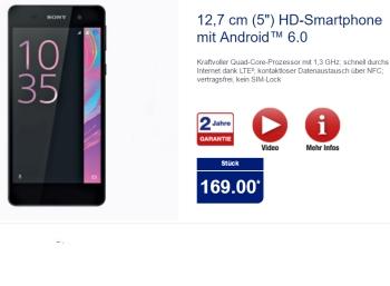 Aldi-Nord: Sony Xperia E5 ab 10. November für 169 Euro