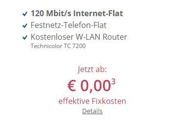 Internet-Flat mit 120 MBit/s und Festnetz-Flat zum Nulltarif