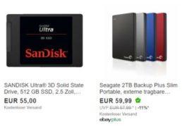 Ebay: Externe Festplatte mit zwei TByte für 59,99 Euro, SSD für 55 Euro
