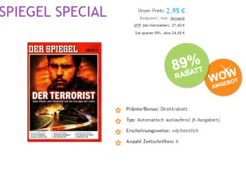 Spiegel: Sechs Ausgaben für 2,95 Euro, Abo endet automatisch