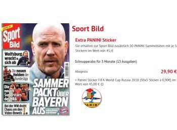 """Gratis: 250 Panini-Sticker zum Dreimonats-Abo der """"Sport Bild"""" für 29,90 Euro"""