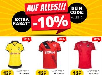 Sportspar: Fußball-Trikots ab 7,99 Euro mit 10 Prozent Extra-Rabatt Sportspar: Fußball-Trikots ab 7,99 Euro mit 10 Prozent Extra-Rabatt
