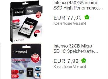 Ebay: SSD mit 480 GByte für 77 Euro, SDHC-Karte mit 32 GByte für 7,99 Euro