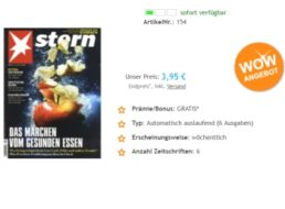 Stern: 6 Ausgaben mit automatischem Abo-Ende für zusammen 3,95 Euro