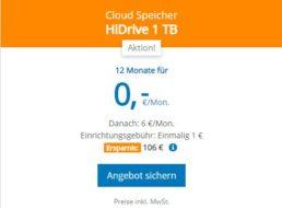 HiDrive: Ein TByte Cloudspeicher auf deutschen Servern für 1 Euro / Jahr