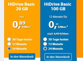 Cloud-Speicher HiDrive mit 100 GByte für monatlich 2,66 Euro