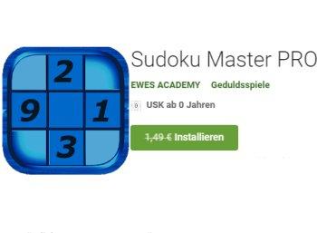 """Gratis: App """"Sudoku Master Pro"""" für kurze Zeit zum Nulltarif"""