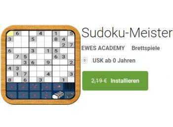 Gratis: Sudoku-App für Android mit sehr guten Bewertungen zum Nulltarif