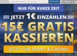 Gratis: 15 Euro geschenkt bei 1 Euro Einzahlung via Sunmaker