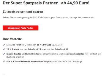 """Bahn: Mit """"Super Sparpreis Partner"""" für 44,90 Euro quer durch Deutschland"""