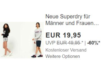 Superdry: Shorts bei Ebay für einen Tag zum Preis von 19,95 Euro
