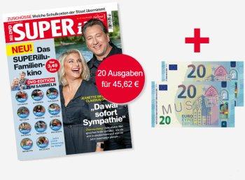 Superillu: 20 Ausgaben, teils mit DVD, für 45,62 Euro mit Scheck über 40 Euro