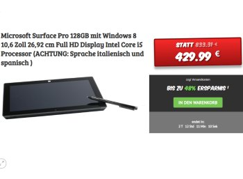 https://www.discountfan.de/microsoft-surface-unter-500-euroDealclub: Microsoft Surface Pro mit 128 GByte für 429,99 Euro