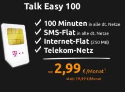 Talk Easy 100: SMS-Flat, 100 Freiminuten und Internet-Flat für 2,99 Euro