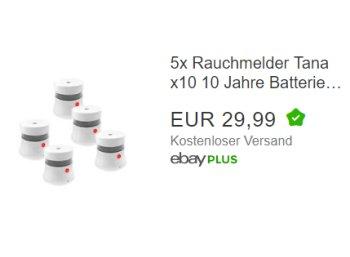 Ebay: Fünf Rauchwarnmelder mit Zehnjahresbatterie für 29,99 Euro frei Haus