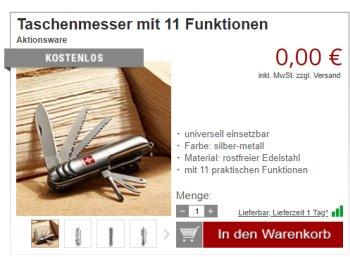 Druckerzubehoer.de: Taschenmesser mit 11 Funktionen für 5,97 Euro frei Haus