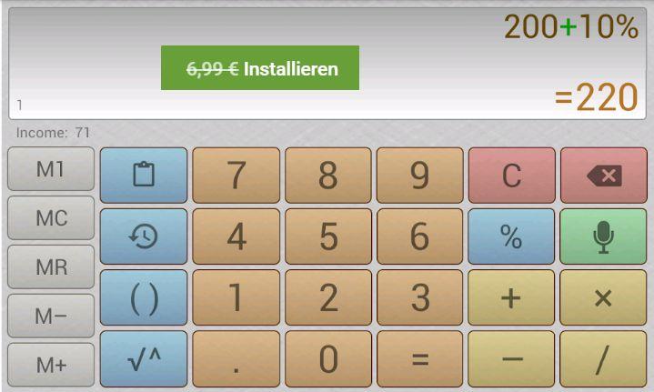 """Gratis: App """"Multiscreen-Taschenrechner mit Spracheingabe Pro"""" für 0 Euro"""